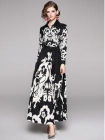 Brand Fashion Tie Waist Pleated Flowers Maxi Dress