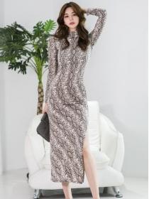 Sexy Fashion Snake Patterns Split Bodycon Long Dress