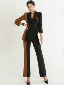 Quality New Color Block Tailored Collar Long Suits