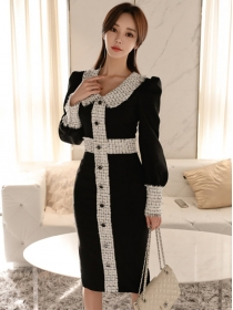 Fashion Lady Single-breasted Doll Collar Slim Dress