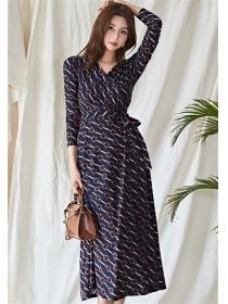 Wholesale Korea Tie Waist V-neck Chain Printings Long Dress