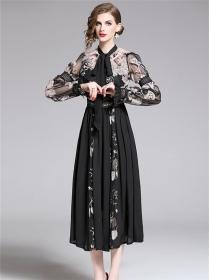 Retro Europe High Waist Flowers Embroidery Chiffon Dress