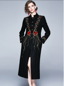 Quality New Single-breasted Heart Embroidery Woolen Long Coat