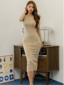 Fashion Autumn 2 Colors Off Shoulder Skinny Long Dress
