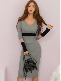 Hot Selling V-neck Color Block Slim Knitting Dress