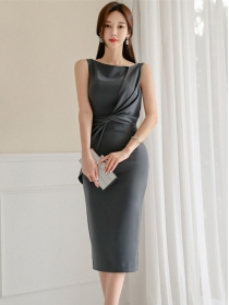 Grace Korea OL Twisted Waist Skinny Tank Dress