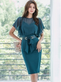 Fashion Korea 4 Colors Tie Waist Flouncing Chiffon Dress
