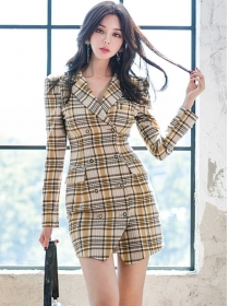 Classic Fashion Tailored Collar Double-breasted Plaids Dress