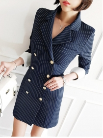 Modern Lady Tailored Collar Stripes Double-breasted Coat Dress