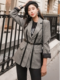 Korea Fashion Tailored Collar Slim Woolen Jacket