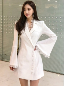 Grace Fashion 2 Colors Single-breasted Flare Sleeve Coat Dress