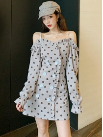 Wholesale Korea Double-breasted Boat Neck Dots Slim Dress