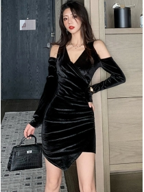 Fashion Korea Off Shoulder V-neck Slim Velvet Dress