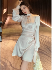 Grace Fashion Pleated Waist Puff Sleeve A-line Dress