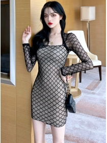 Wholesale Sexy Square Collar Plaids Gauze Slim Dress