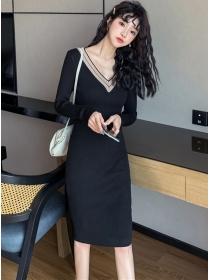 Fashion Autumn V-neck Slim Knitting Long Sleeve Dress