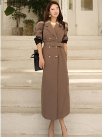 Modern 2 Colors Double-breasted Tailored Collar Long Coat