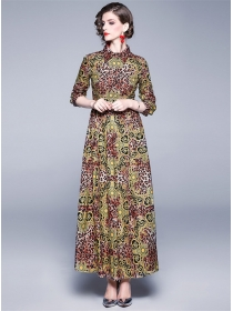 Retro Charming High Waist Leopard Flowers Maxi Dress