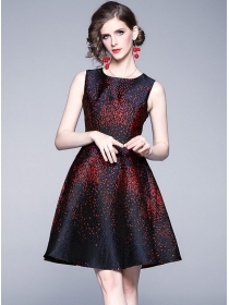 Quality Fashion Jacquard Flowers Flouncing Tank Dress