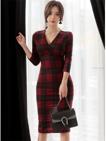 Fashion Wholesale V-neck High Waist Plaids Slim Dress