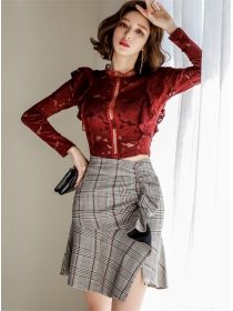 Charm Sexy Lace Hollow Out Blouse with Plaids Flouncing Skirt