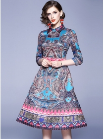 Charming Retro Shirt Collar Flowers A-line Long Dress