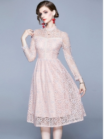 Europe Fashion Lace Flowers Hollow Out Long Sleeve Dress