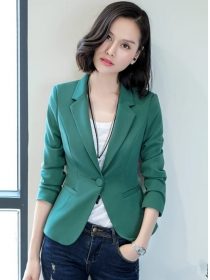 Grace Lady 3 Colors Tailored Collar One Button Jacket