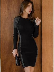 Wholesale Fashion Color Block Round Neck Knitting Dress