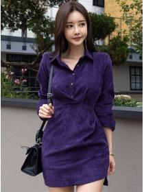 Autumn New Buttons Shirt Collar Slim Long Sleeve Dress