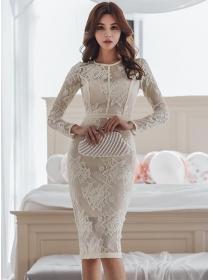 Grace Korea Fashion Lace Flowers Bodycon Dress