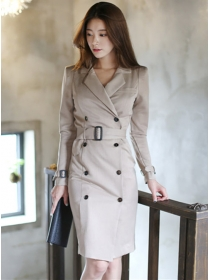 Modern OL Double-breasted Tailored Collar Slim Dress