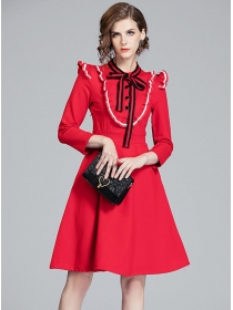 Preppy Europe 2 Colors Bowknot Collar Flouncing A-line Dress
