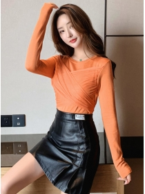 Fashion Autumn Tie Waist Knitting Long Sleeve T-shirt