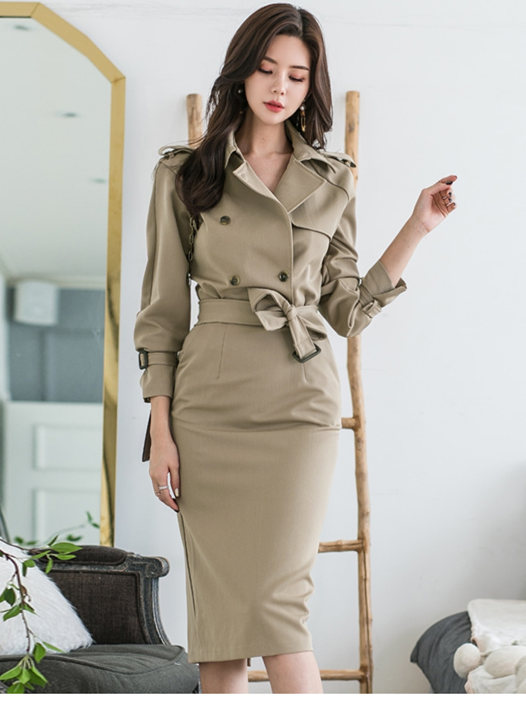 Grace Fashion Double-breasted Tie Waist Bodycon Dress