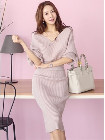 Fashion Wholesale 2 Colors V-neck Batwing Knitting Dress Set