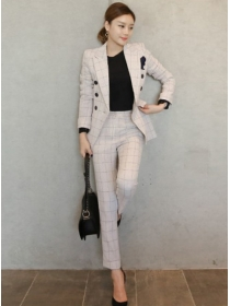 Korea Fashion Tailored Collar Plaids Slim Long Suits
