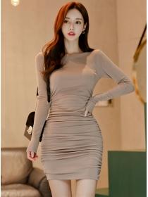Wholesale Korea Round Neck Pleated Long Sleeve Dress