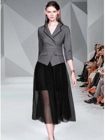 Modern Europe Tailored Collar High Waist Gauze Long Dress