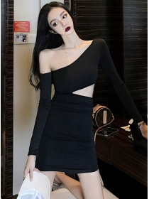 Retro Sexy Off Shoulder Hollow Out Skinny Dress
