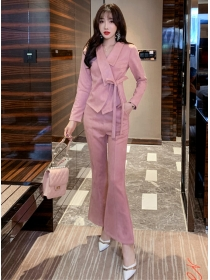 Modern New 2 Colors Tailored Collar Flared Long Suits