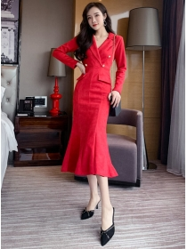 Elegant Lady 2 Colors Tailored Collar Fishtail Suede Dress