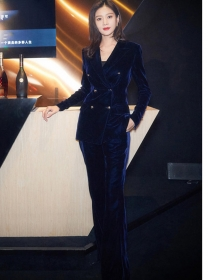 Brand Fashion Double-breasted Slim Velvet Long Suits
