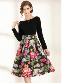 Charming Europe High Waist Flowers Flouncing A-line Dress