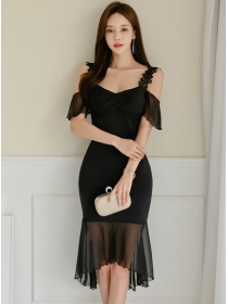 Grace Lady Boat Neck Lace Straps Fishtail Slim Dress