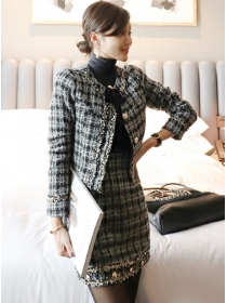 Retro Style Single-breasted Tweed Plaids Dress Set