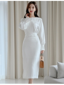 Elegant Lady Fashion High Waist Puff Sleeve Slim Dress