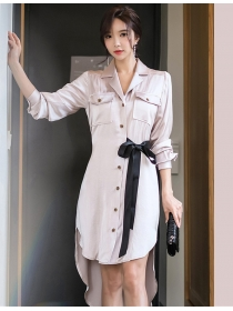 Modern New Single-breasted Tie Waist Dovetail Shirt Dress