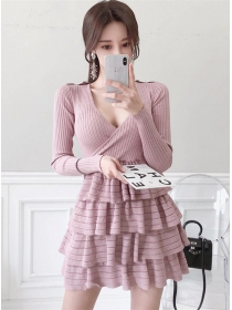 Lovely Fashion V-neck Layered Flouncing Knitting Dress