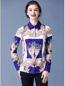 Fashion Europe Turn-down Collar Flowers Blouse